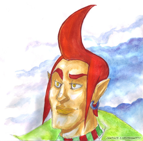 jakface:  keyshakitty:  Watercolour of one of Jak's Groose pictures she doodled while here.  I couldn't resist putting some colour to it while I waited for the watercolours on my Halloween pic to dry. <3ALL her Groose art fills me with so many feels~!  Thank you for colouring such a derpy sketch to such beautiful lengths! ;o;  You guys always do the best collabs!