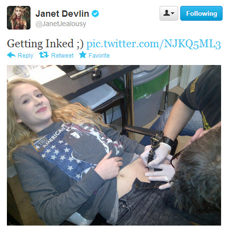 crown-of-thornss:  Janet Devlin starts the month with a new tattoo.