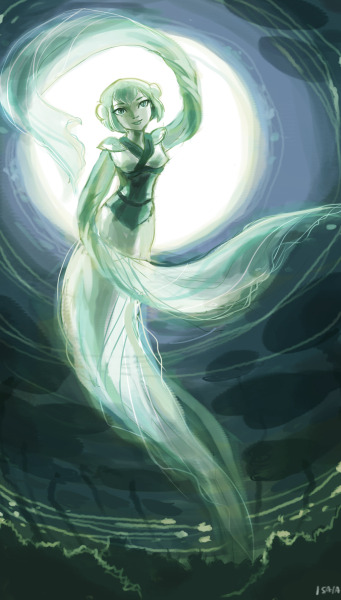 "isaia:  Earth/Forest Spirit Aya from ""The Legend of Green Lantern"" (GLTAS in Avatar universe AU)??This ended up getting way too labored but I needed to loosen up and practice. I stopped when it reached bullshite levels of coloring but I think I needed to stop like 10 min into it.Happy Halloween, guys!  LOL goodnight.  So would this be fanart? Or crossover?IDK anymore ._."