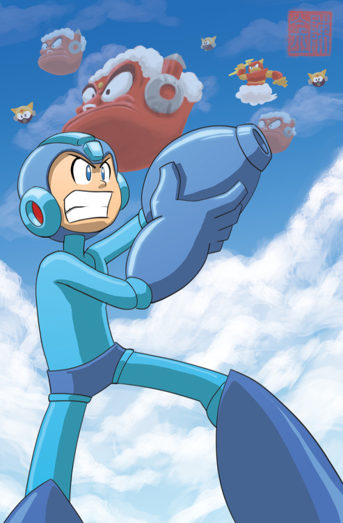 jazzyjin:  Mega Man in the Air Man level. This is what a premium commission looks like. If you would like a commission please head over to this page. http://jinchanyumwai.com/commissions.html