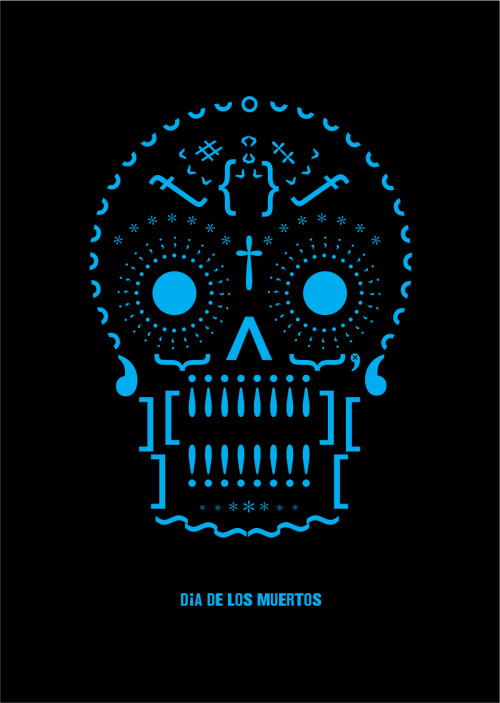 Dia De Los Muertos / Day of the dead - Gill Sans series of posters constructed almost entirely from glyphs.