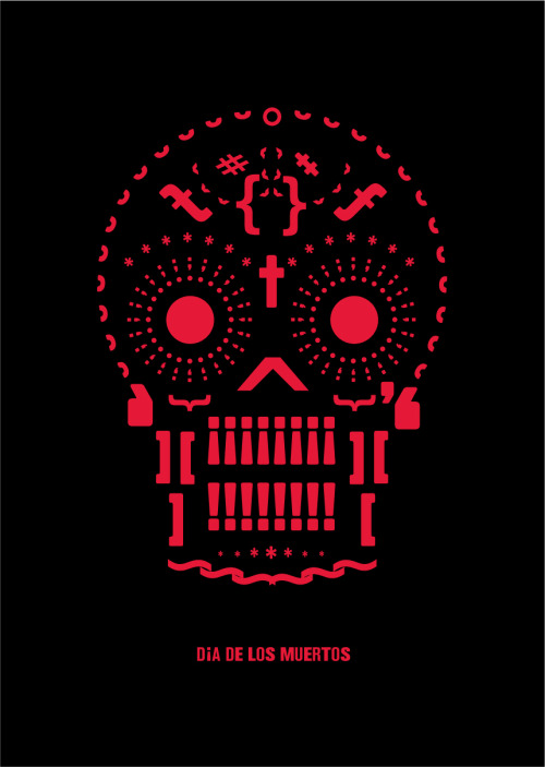 Dia De Los Muertos / Day of the dead - Gothic 821 Condensed series of posters constructed almost entirely from glyphs.