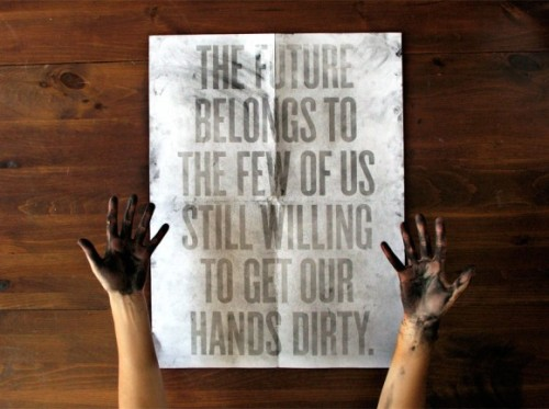 vimmuse:  Dirt Poster is a Design and Graphic-Design work made by Roland Reiner Tiangco, a new graduate of a Design School, living in New York. While handling the poster, your hands starts to get dirty, and this dirt allows you to see what's the poster is all about. Check out also the artist's Website.