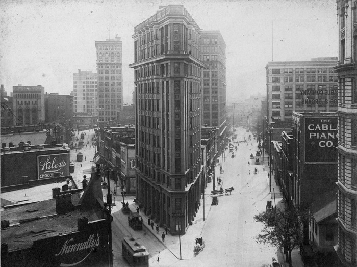 Early 1900s view of the English-American Building. Constructed in 1897 (five years before New York's Flatiron Building), it is Atlanta's oldest standing skyscraper. Browse and order prints from our collection.