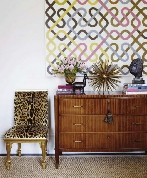 Mixing print, pattern and texture for the modern home (via @maebad). #Interiors #Animal #Design
