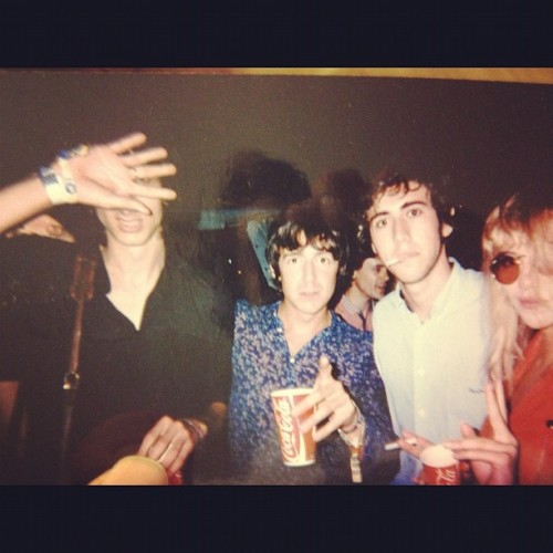 rhysjoejoshtomfaris:  Faris, a pointing Miles Kane, and Suki Waterhouse
