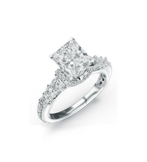 weddinginspirasi:  1.76 Carat Princess Cut / Shape Prong and Pave Set Designer Diamond Engagement Ring