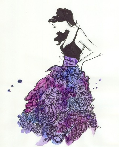 Fashion,Flowers,Girl,Halter dress,Purple,Skirt,Sweet,