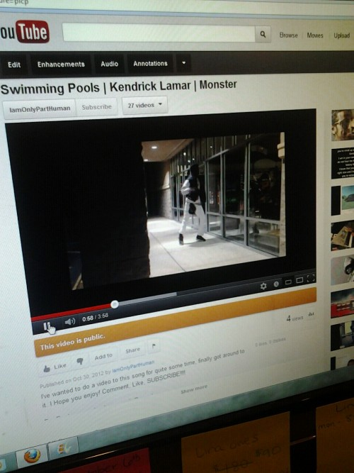 "Dance Freestyle to Kendrick Lamar's ""Swimming Pools"" by Monster. www.youtube.com/IamOnlyPartHuman"