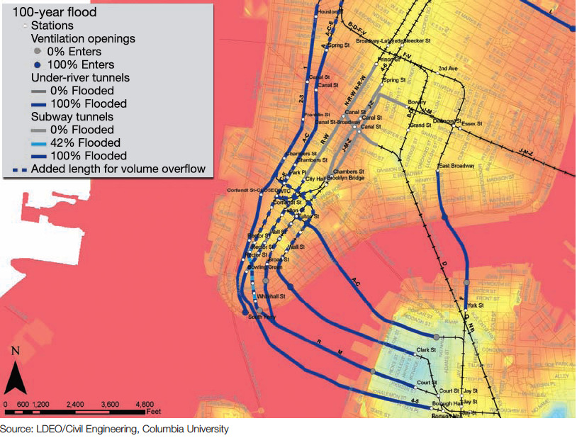 "The 2011 Report That Predicted New York's Subway Flooding Disaster  Last fall, as part of a massive report on climate change in New York, a research team led by Klaus Jacob of Columbia University drafted a case study that estimated the effects of a 100-year storm on the city's transportation infrastructure. Considering MTA Chairman Joseph Lhota's comments today that Hurricane Sandy's impact on the subway was ""worse than the worst case scenario,"" it seems pretty safe to put Sandy in the 100-year category. In that case, assuming the rest of the report holds true, the subway system could be looking at a recovery time of several weeks, with residual effects lasting for months and years.  Read more. [Image: LDEO, Columbia University]"