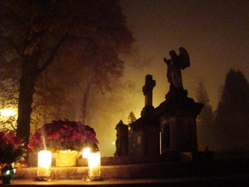 "Happy All Saints Day! (I do prefer the sound of the German ""Aller Heilligen"")  All Saints' Day at a cemetery in Sanok - flowers and light candles to honor the memory of deceased relatives. Poland, 1 November 2011"