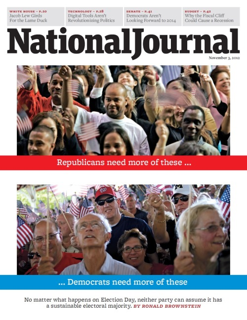 The cover of the November 3 issue of National Journal. Republicans need more of these… Democrats need more of these: No matter what happens on Election Day, neither party can assume it has a sustainable electoral majority. By Ronald Brownstein