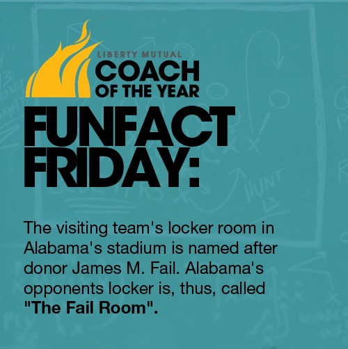 "Did you know: the visiting team's locker room in Alabama's stadium is named after donor James M. Fail, thus, called ""The Fail Room."""