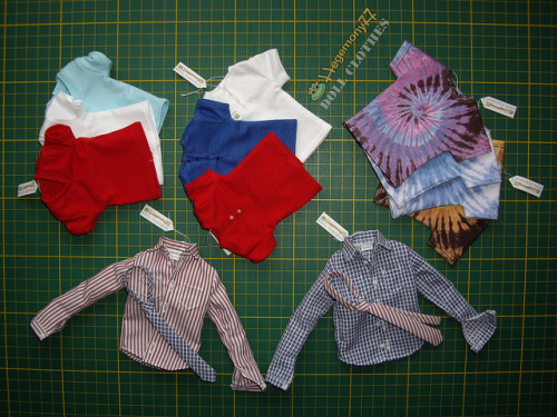 1/6 scale custom order clothes for Ken dolls - Henley V neck and Tie dye T-shirts and shirts with real buttonholes and ties on Flickr.Doll clothes and photo made by Hegemony77
