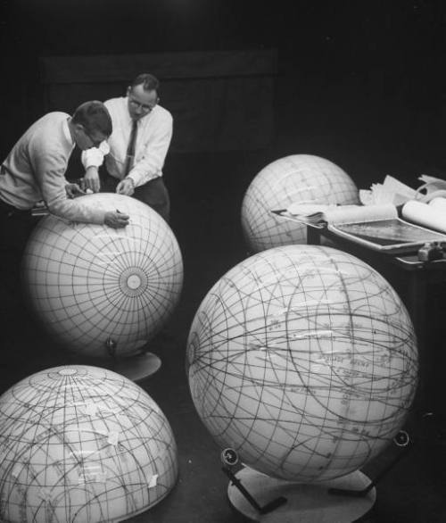 jtotheizzoe:  explore-blog:  1962 models of the moon.  From back when people actually had to draw Google Maps. Epic globes.
