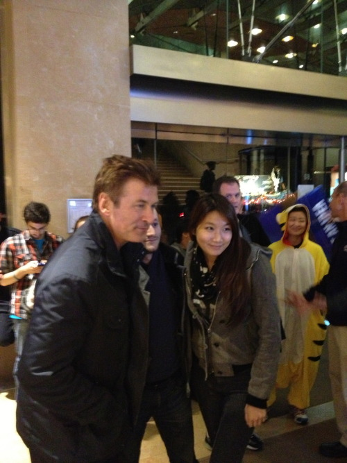 Alec Baldwin cheered up NYU evacuees last night.
