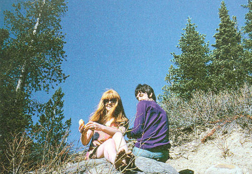 April 6, 1967 - Barefoot Jane and boyfriend Paul enjoy a picnic lunch from a spectacular lookout point high in the Colorado Rockies near Denver.