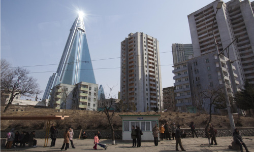 Building work started on Pyongyang's 105-storey Ryugyong hotel in 1987 but developers say it will open soon … 'probably' Photograph: David Guttenfelder/AP