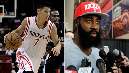 theatlantic:  In Houston, Jeremy Lin and James Harden Plot Revenge on the NBA  The NBA's most fascinating backcourt is not in Miami, where Dwyane Wade is joined by pedestrian point guard Mario Chalmers. It's not in Brooklyn, despite the billboards throughout New York featuring Deron Williams and Joe Johnson. It's not even in Los Angeles, where Steve Nash and Kobe Bryant have five NBA titles and three MVPs between them (but have played a combined 2,315 games and more than 78,000 minutes). No, the backcourt tandem to watch this year is in Houston, where Jeremy Lin and James Harden enter the season with a lot to prove. Those two kids, with a combined age of 47, are setting out to show their former teams and the rest of the league that they are worth every penny of their contracts and then some. And one of them just happens to be among the biggest breakout stars/cultural icons the NBA has ever seen.  Read more. [Images: AP]