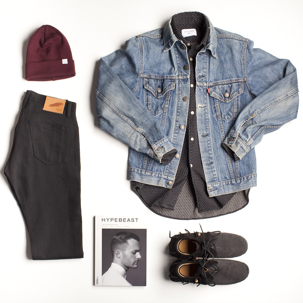 "Class Photos - ""Back in Black"" kit Details: Beanie by Norse Projects, shirt by Our Legacy, and denim pants by Rogue Territory (all available at The Class Room) Vintage denim jacket and sneakers from private collection"