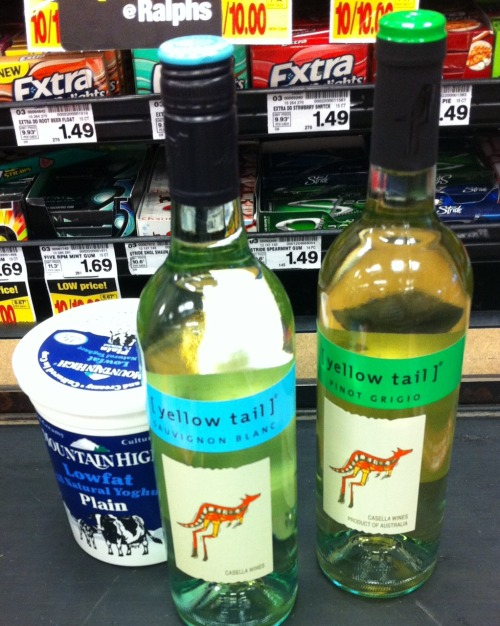 Yogurt and wine.