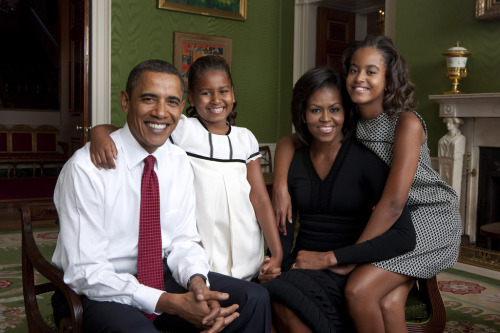 obamafamily:  President Barack Obama, First Lady Michelle Obama, and their daughters, Sasha and Malia, sit for a family portrait in the Green Room of the White House, Sept. 1, 2009. (Official White House Photo) Most iconic Pete Souza photos of Obama family's first 4 years in the White House