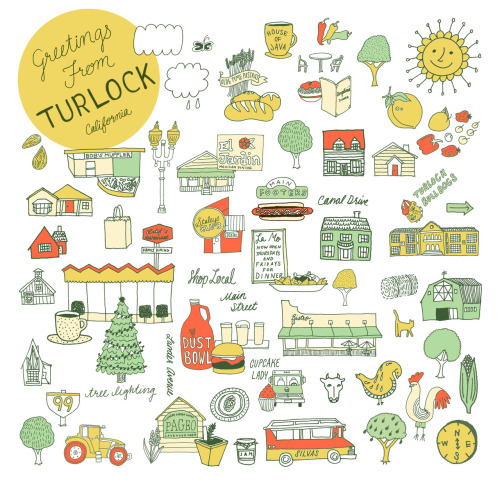 eatsleepdraw:  Map of Turlock, California.  A small town in the Central Valley. Kathryn McFarlane