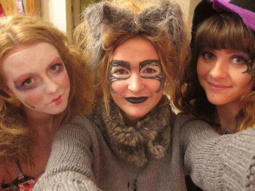 Sarah, Esme and I on Halloween. I'm a witch, Esme's a werewolf and Sarah's a doll