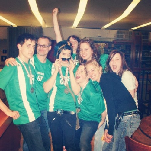 Throwback Thursday: my hs improv team. This is after we landed silver in the Toronto tournament and went on the place 8th nationally. I am (literally) trying to pose like Jennifer Hudson on her cover of Vogue because that's how giant of a faggot I was (and still am). Also that moustache went everywhere.