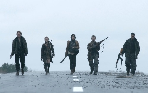 A group of five survivors, armed with shotguns, axes and machetes, wander the back roads of a ravaged landscape looking for refuge in The Day, a terrifying look into a post-apocalyptic future. As war ravages humanity, destroying civilization and most of life on earth, the survivors realize they must do whatever it takes to stay alive. Lost, starving, and exhausted, they seek shelter in a seemingly safe abandoned farmhouse. However, while searching for food and resources, they unwittingly set off a trap signaling to their ruthless predators lying in wait to begin their deadly attack. With food and ammunition dwindling, the group must make a desperate final stand—over a 24-hour period—battling for their ultimate survival  The Day is a pretty slick little film indeed. I really enjoyed this post-apocalypse story, really good casting, excellent dialogue and a very depressing tale about humanity and morality.