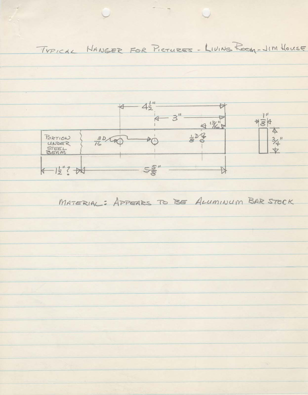 How do you hang pictures on marble walls? This drawing shows the system used at the Miller House. Fitted between the steel beam and the marble wall, the aluminum bar had a wire that passed through it from which the picture was hung. After Monet's Waterlillies (1919) fell , a heavier wire was used to rehang the painting.  Pencil drawing of Typical Hanger for Pictures, March 1958, 2/11, Miller House and Garden Collection, IMA Archives, Indianapolis Museum of Art, Indianapolis, Indiana. (MHG_Ia_B002_f011_042)