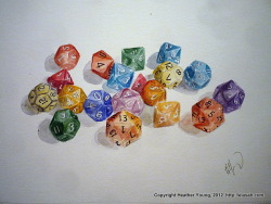 "Oodles of Dice An 11"" by 15"" watercolor.  Original painting available here."