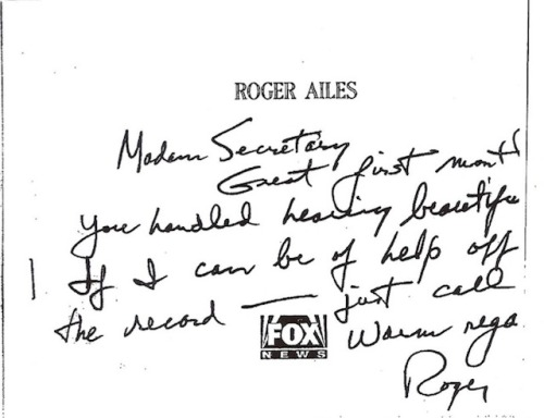 "Fair and Balanced: Here's a handwritten note, circa-2005, wherein the president of Fox News writes to a Bush administration official—on Fox News stationary—and offers to ""help off the record"" if needed. The administration official in question was Condoleezza Rice, then-Secretary of State; Rice replied with a generic form letter. The note was obtained by Gawker's John Cook, who wrote: ""Please just imagine for a moment how Fox News would cover the publication of a private note from the editor of the New York Times to an Obama Administration official offering 'help off the record.'"" source"