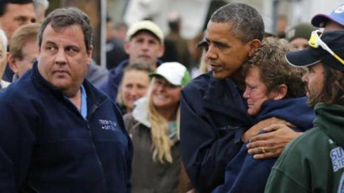 "morb1d:  asianrebel:  gawkercom:  President Obama comforts a woman in New Jersey whose marina was damaged by Hurricane Sandy. As theWall Street Journal's Jeff Yang put it, ""If enough people see it, this is the photo that singlehandedly re-elects Barack Obama."" [Twitter via AP]  romney would at most shake that woman's hand  romney would probably ask her why she isn't in the kitchen"