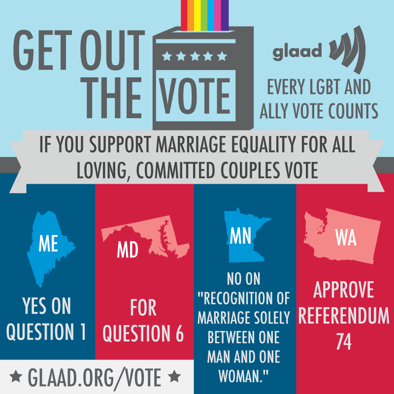 Like and reblog this graphic if you are going to vote! http://glaad.org/vote