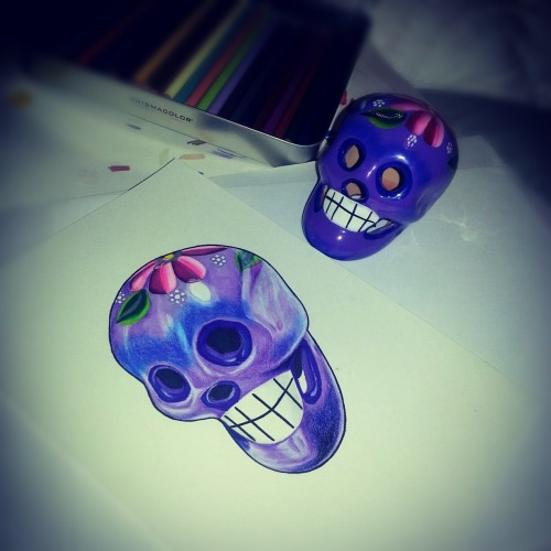 My drawing of a Mexican day of the dead skull