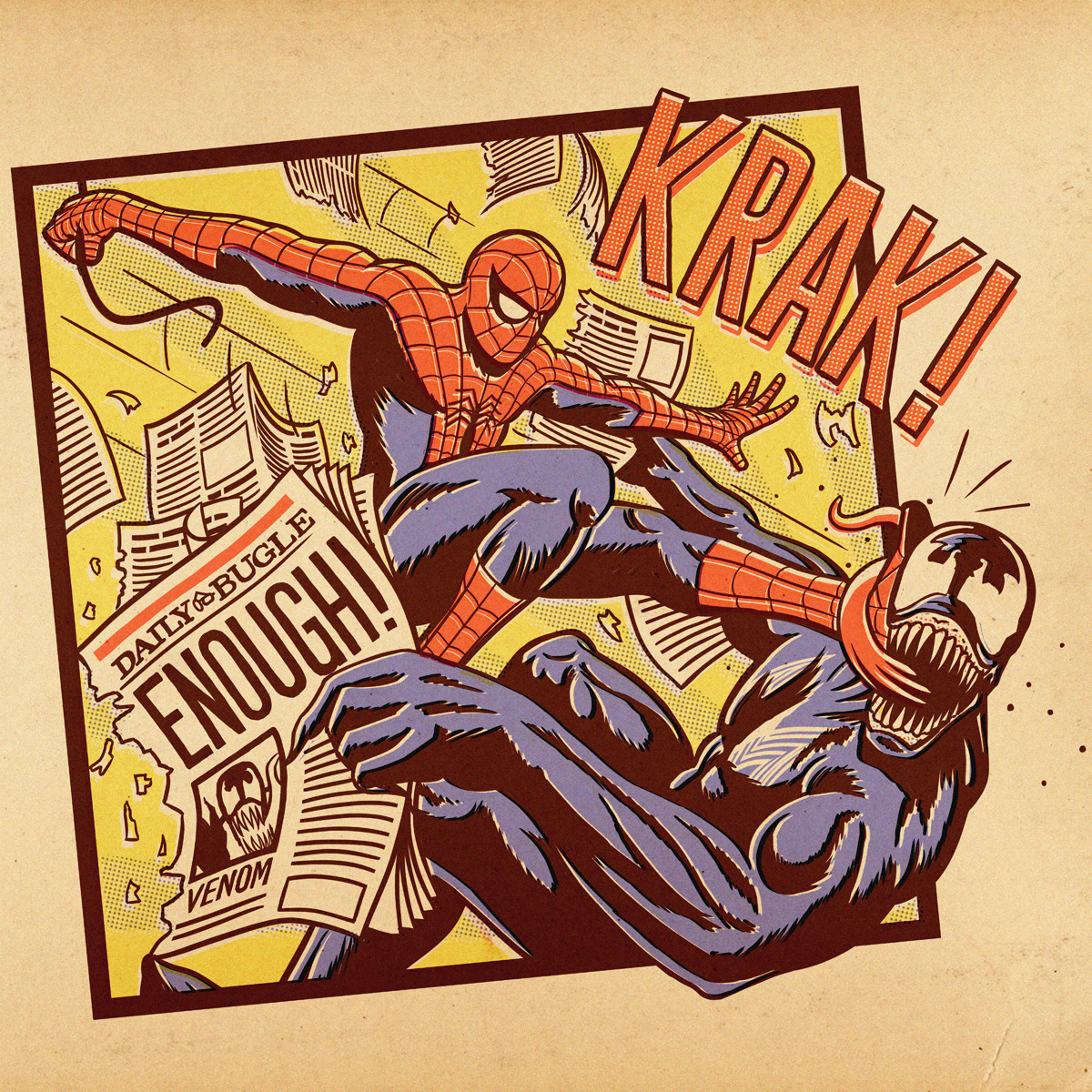 herochan:  Spider-Man vs Venom, 1968 Aled Lewis: Trying something different for a Threadless + Marvel idea.