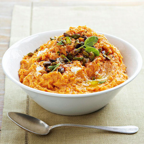 Mashed Sweet Potatoes: This delicious side dish has creamy goat cheese and pistachios mixed in.