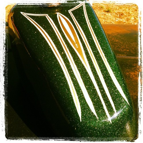 thatdamnsteve:  Striped today….  My brothers tank for his XS650 Build, can't wait to see this thing finished