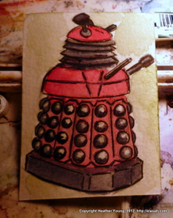 Original watercolor vintge Dalek ACEO