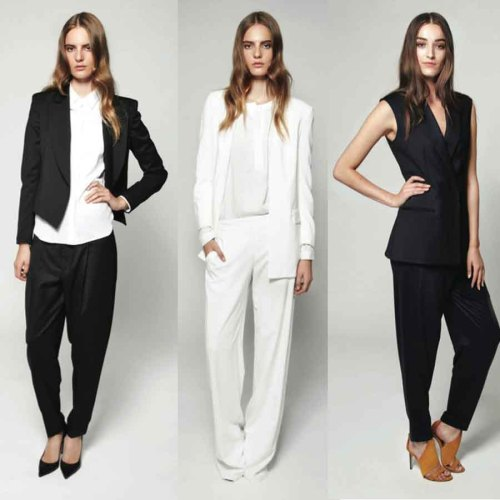 Chic black and white suiting options from Theory's spring 2013 collection. Love!
