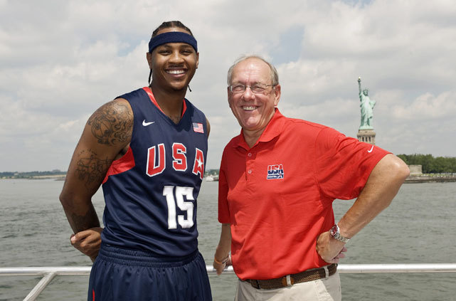 Carmelo Anthony and Jim Boeheim, a Team USA coach and Carmelo's coach at Syracuse, spent some quality time together in the Big Apple before the 2008 Olympics. (Jennifer Pottheiser/Getty Images) GALLERY: Rare Photos of Carmelo Anthony