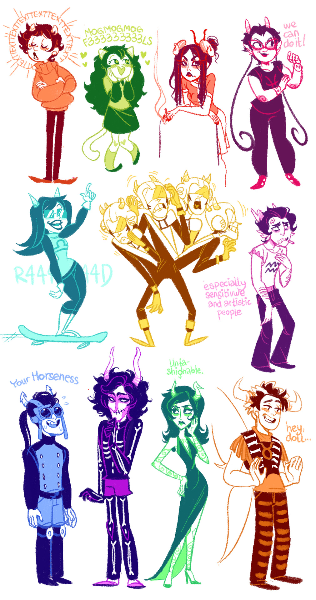 xamag-homestuck:  Okay, I lied, have those cuties Aranea was so stubborn that didn't fit into picture, so there she is