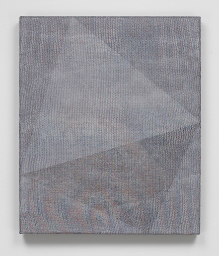 "Mark Barrow BRG1, 2012 Acrylic on Hand-Loomed Linen 28 x 23.5"" Textile by Sarah Parke"