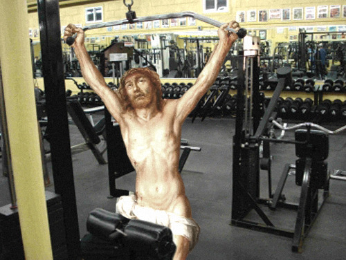 jesus-everywhere:  Jesus Doing Some Lat Pulls In Preparation For His Spring Break Trip To The Bahamas