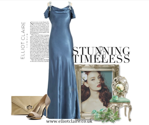 Elliot Claire Timeless Collection featuring Metallic Aqua Off Shoulders Evening Dress