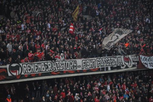 REMEMBER HISTORY, FIGHT FASCISM banner from the fans of Standard Liege