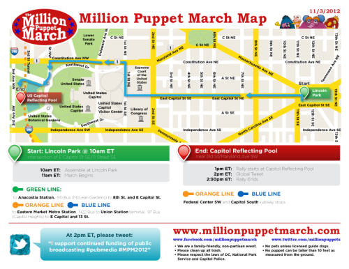 millionpuppetmarch:  Here's the official Million Puppet March route map! See you in DC on 11/3  So this is apparently happening right now.