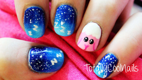 totallycoolnails:  Sleepy Sheep Nail Art:Tutorial Here