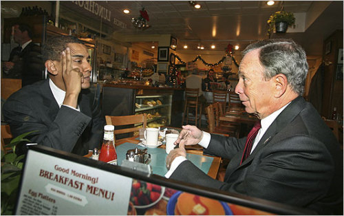 "Michael Bloomberg endorses Obama: Shortly after delivering some extremely harsh criticism of President Obama in The Atlantic this month, the Mayor of New York has endorsed Obama for reelection, attributing much of his decision to Obama's leadership on, of all things, climate change. ""Obama has taken major steps to reduce our carbon consumption, including setting higher fuel-efficiency standards for cars and trucks,"" Bloomberg wrote in his endorsement. He had nice words for Mitt Romney, but criticized him for reversing otherwise ""sensible positions"" on a variety of issues. ""If the 1994 or 2003 version of Mitt Romney were running for president, I may well have voted for him,"" said Bloomberg. (Photo credit: AP) source"